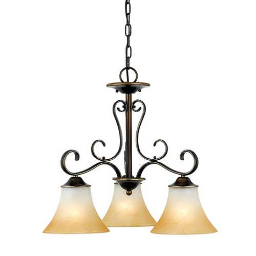 Quoizel Lighting Chandelier with Brown Glass in Palladian Bronze Finish DH5103PN