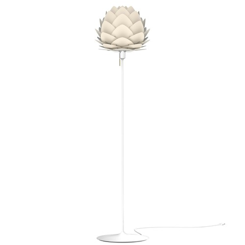 UMAGE White Torchiere Lamp with Pearl White Metal Shade 2128_4037