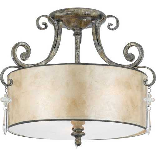 Quoizel Lighting Semi-Flushmount Light with Beige / Cream Mica Shade in Mottled Silver KD1716MM