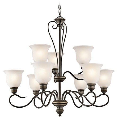 Kichler Lighting Kichler Chandelier with White Glass in Olde Bronze Finish 42907OZ