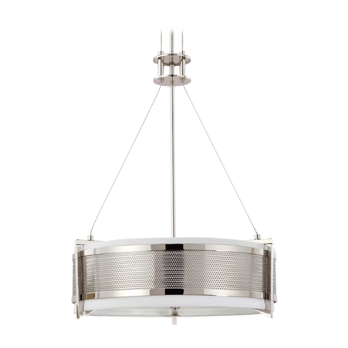 Nuvo Lighting Modern Drum Pendant Light with Grey Shade in Polished Nickel Finish 60/4443