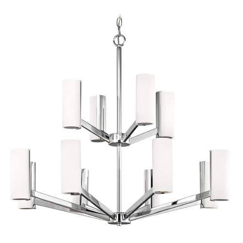 Dolan Designs Lighting Modern LED Two Tier Chandelier with 12 Lights Chrome Finish 1292-26