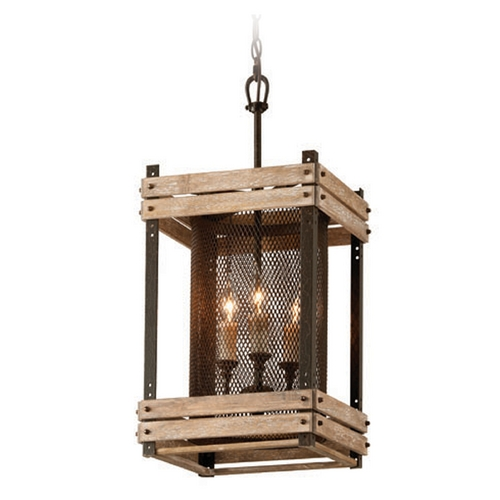 Troy Lighting Troy Lighting Merchant Street Rusty Iron with Salvaged Wood Slats Pendant Light with Cylindrical Sh F4063