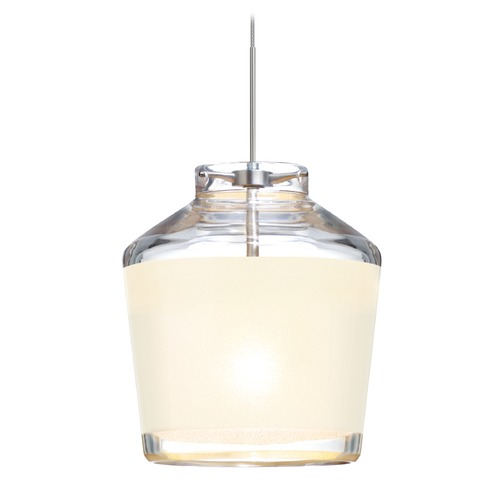 Besa Lighting Besa Lighting Pica Satin Nickel LED Mini-Pendant Light with Empire Shade 1XT-PIC6WH-LED-SN