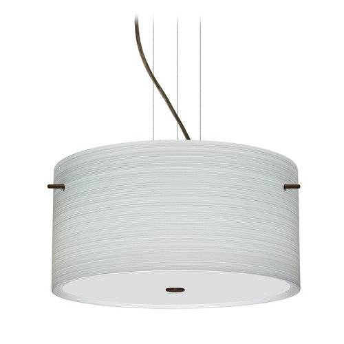Besa Lighting Besa Lighting Tamburo Bronze LED Pendant Light with Drum Shade 1KV-4008KR-LED-BR