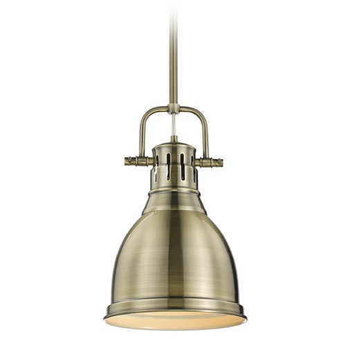 Golden Lighting Golden Lighting Duncan Ab Aged Brass Mini-Pendant Light with Bowl / Dome Shade 3604-S AB-AB