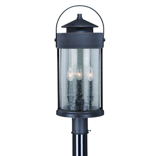 Vaxcel Lighting Seeded Glass Post Light Iron Vaxcel Lighting T0289