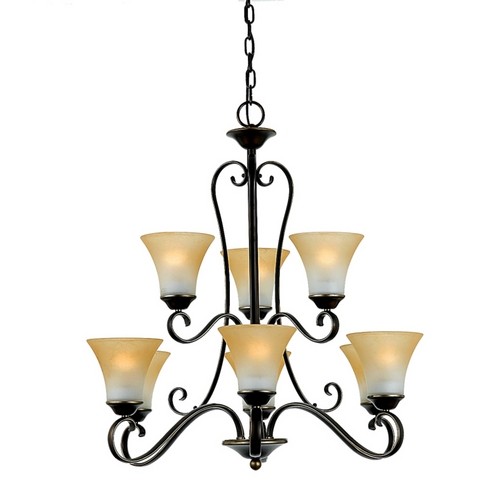 Quoizel Lighting Chandelier with Brown Glass in Palladian Bronze Finish DH5009PN