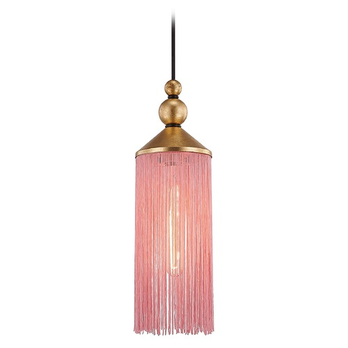 Mitzi by Hudson Valley Mitzi By Hudson Valley Scarlett Gold Leaf Pendant Light with Cylindrical Shade H300701-GL/PK