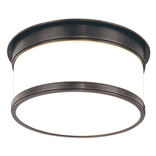 Hudson Valley Lighting Flushmount Light with White Glass in Old Bronze Finish 709-OB