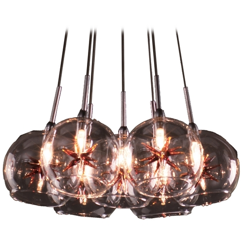 ET2 Lighting Modern Low Voltage Multi-Light Pendant Light with Clear Glass and 7-Lights E20114-25