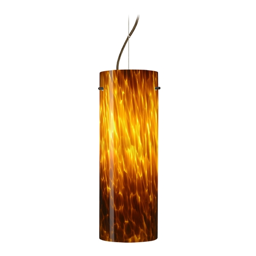 Besa Lighting Modern Pendant Light with Amber Glass in Bronze Finish 1KX-412818-BR