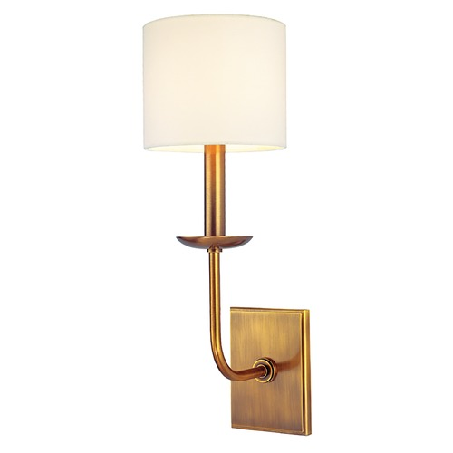 Hudson Valley Lighting Sconce Wall Light with White Shade in Aged Brass Finish 1711-AGB