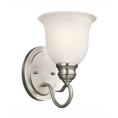 Kichler Lighting Kichler Sconce Wall Light with White Glass in Brushed Nickel Finish 45901NI