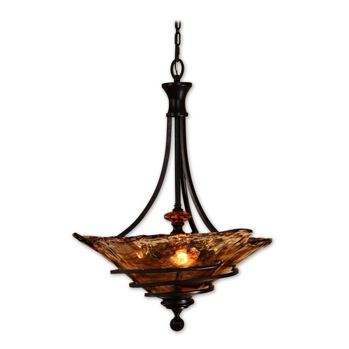 Uttermost Lighting Pendant Light with Art Glass in Oil Rubbed Bronze Finish 21904