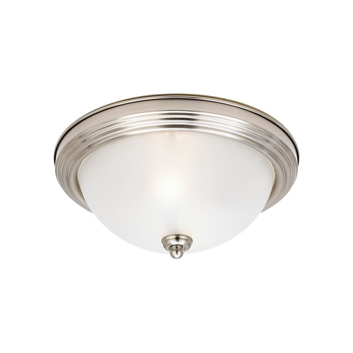 Sea Gull Lighting Flushmount Light with White Glass in Brushed Nickel Finish 79565BLE-962