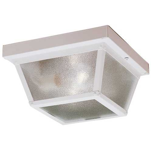White Flushmount Outdoor Ceiling Light Fixture 345Wh