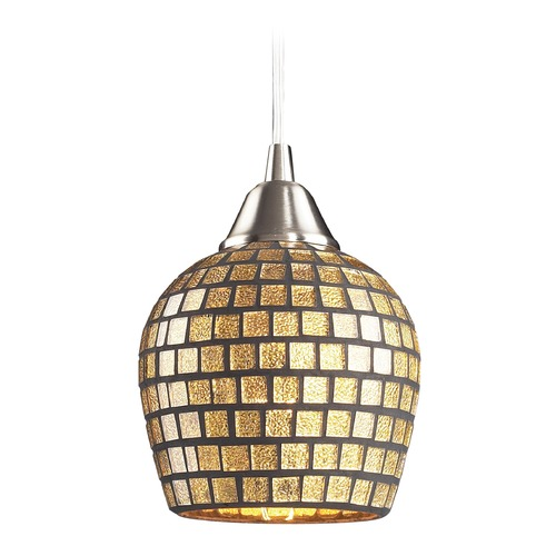 Elk Lighting Elk Lighting Fusion Satin Nickel LED Mini-Pendant Light with Bowl / Dome Shade 528-1GLD-LED