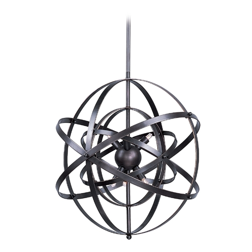 Maxim Lighting Modern Bronze Orb Pendant Light with Nine Lights 25133BR