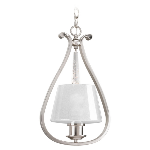 Progress Lighting Progress Lighting Dazzle Brushed Nickel Mini-Pendant Light with Empire Shade P5017-09