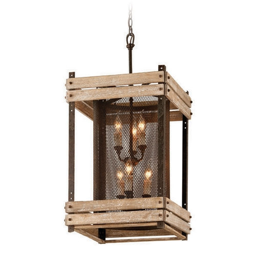Troy Lighting Troy Lighting Merchant Street Rusty Iron with Salvaged Wood Slats Pendant Light with Cylindrical Sh F4066