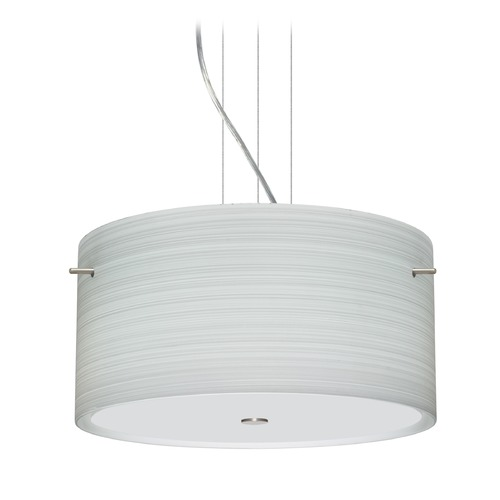 Besa Lighting Besa Lighting Tamburo Satin Nickel LED Pendant Light with Drum Shade 1KV-4008KR-LED-SN