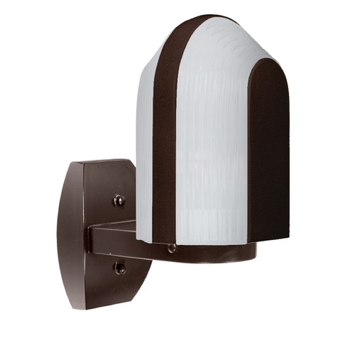 Besa Lighting Frosted Ribbed Glass Outdoor Wall Light Bronze Costaluz by Besa Lighting 313998-WALL-FR