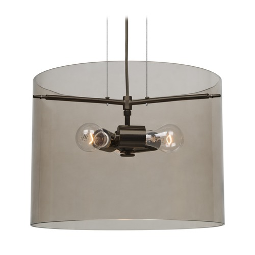 Besa Lighting Besa Lighting Pahu Bronze Pendant Light with Drum Shade 1KG-S00707-BR-NI