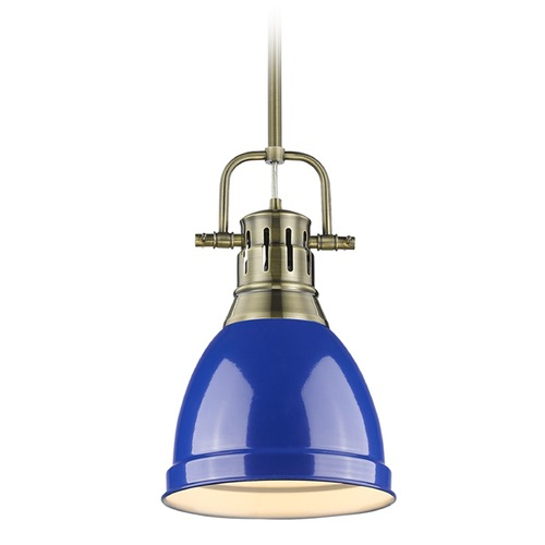 Golden Lighting Golden Lighting Duncan Ab Aged Brass Mini-Pendant Light with Bowl / Dome Shade 3604-S AB-BE