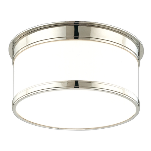 Hudson Valley Lighting Flushmount Light with White Glass in Polished Nickel Finish 709-PN
