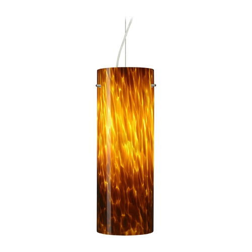 Besa Lighting Modern Pendant Light with Amber Glass in Satin Nickel Finish 1KX-412818-SN