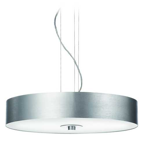 Philips Lighting Modern Drum Pendant Light with Clear Glass in White Finish 403394848