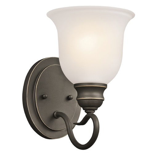 Kichler Lighting Kichler Sconce Wall Light with White Glass in Olde Bronze Finish 45901OZ