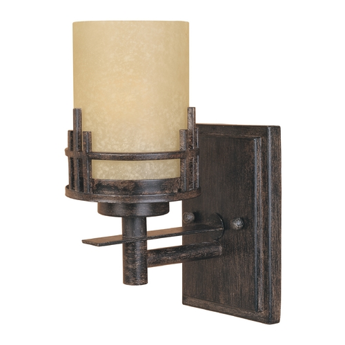 Designers Fountain Lighting Sconce Wall Light with Beige / Cream Glass in Warm Mahogany Finish 82101-WM