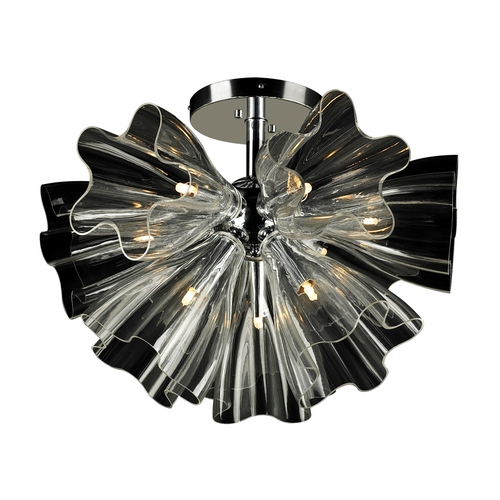 PLC Lighting Modern Flushmount Light with Clear Glass in Polished Chrome Finish 82367 PC