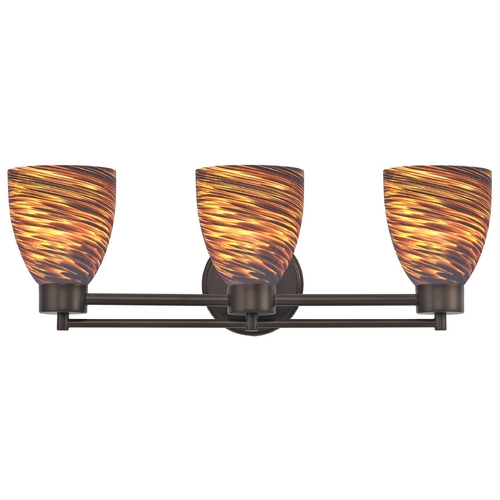 Design Classics Lighting Modern Bathroom Light with Brown Art Glass in Neuvelle Bronze Finish 703-220 GL1023MB