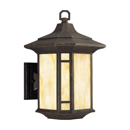 Progress Lighting Progress Outdoor Wall Light with Art Glass in Weathered Bronze Finish P5629-46