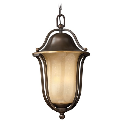Hinkley Lighting Outdoor Hanging Light with Amber Glass in Olde Bronze Finish 2632OB