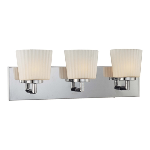George Kovacs Lighting Modern Bathroom Light with White Glass in Chrome Finish P5143-077