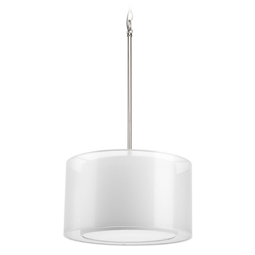 Progress Lighting Modern Drum Pendant Light with White Null Shade in Brushed Nickel Finish P5036-09