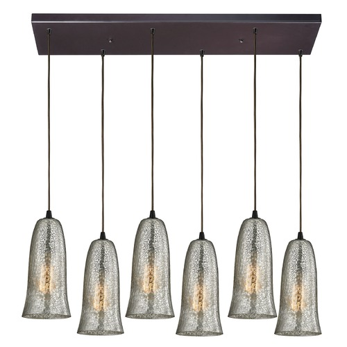 Elk Lighting Elk Lighting Hammered Glass Oil Rubbed Bronze Multi-Light Pendant with Bell Shade 10431/6RC-HME