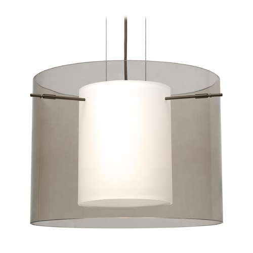 Besa Lighting Besa Lighting Pahu Bronze LED Pendant Light with Drum Shade 1KG-S00707-LED-BR