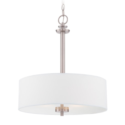 Designers Fountain Lighting Designers Fountain Harlowe Satin Platinum Pendant Light with Drum Shade 87231-SP