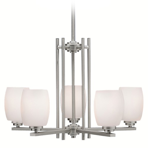 Kichler Lighting Kichler Modern Chandelier with White Glass in Brushed Nickel Finish 1896NI