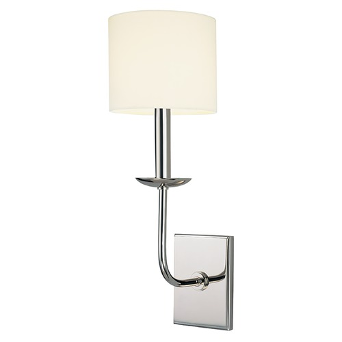 Hudson Valley Lighting Sconce Wall Light with White Shade in Polished Nickel Finish 1711-PN