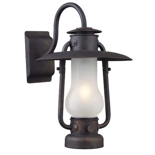 Elk Lighting Stagecoach 1 Light Sconce in Matte Black and Acid Etched Glass 65004-1