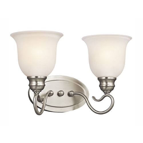 Kichler Lighting Kichler Bathroom Light with White Glass in Brushed Nickel Finish 45902NI