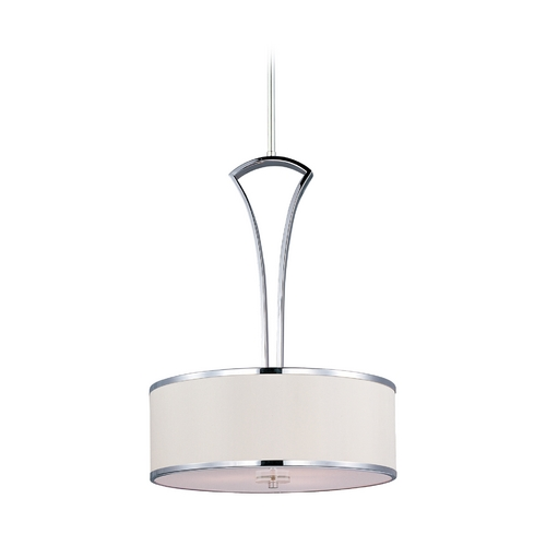 Maxim Lighting Modern Drum Pendant Light with White Shade in Polished Chrome Finish 39823BCWTPC
