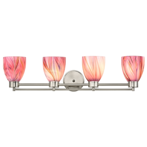 Design Classics Lighting Modern Bathroom Light with Pink Art Glass in Satin Nickel Finish 704-09 GL1004MB