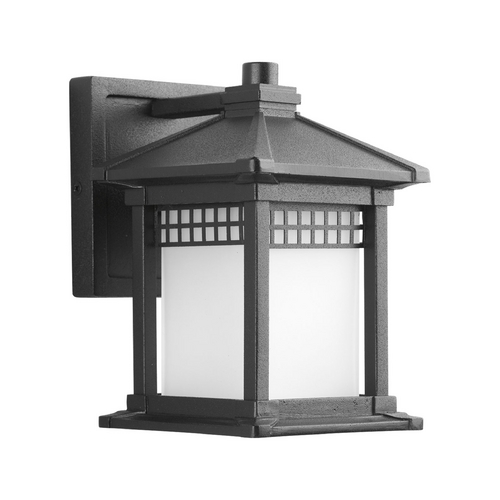 Progress Lighting Progress Outdoor Wall Light with White Glass in Black Finish P6000-31